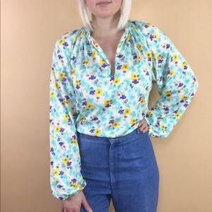 Vintage 1970s retro floral boho peasant blouse